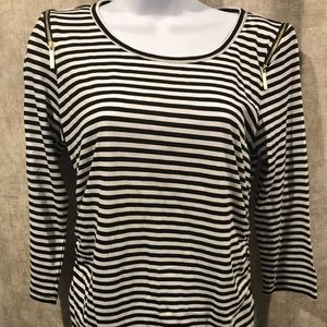 MICHAEL KORS Sm black and white striped top